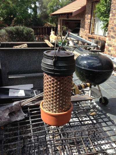 How to make a garden project / plant. Brazier For 1/4 Size Cast Iron Pot - Step 4