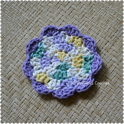 How to stitch a knit or crochet coaster. Simple Flower Coasters - Step 1
