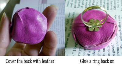 How to make a fabric ring. Leather Rose Ring - Step 3