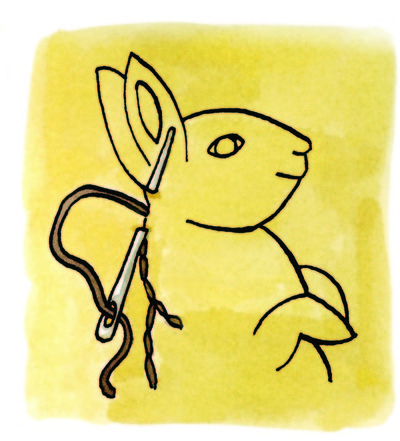 How to make a piece of textile art. Springtime Bunnies - Step 5