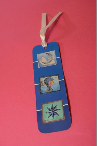 How to make a recycled bookmark. Paint Chip Book Separator - Step 5