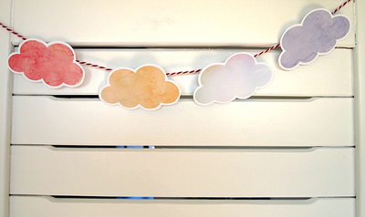 How to make a card. Printable Watercolour Clouds Cards - Step 3