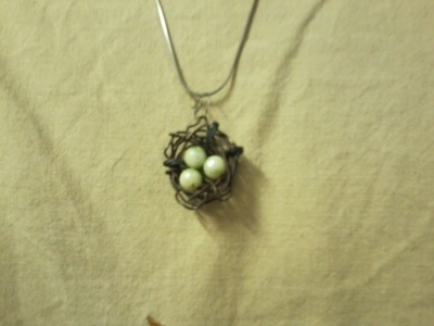 How to make a wire necklace. Bird's Nest Pendent - Step 5
