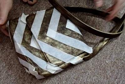 How to make a shoulder bag. Brushed Gold Chevron Purse - Step 5