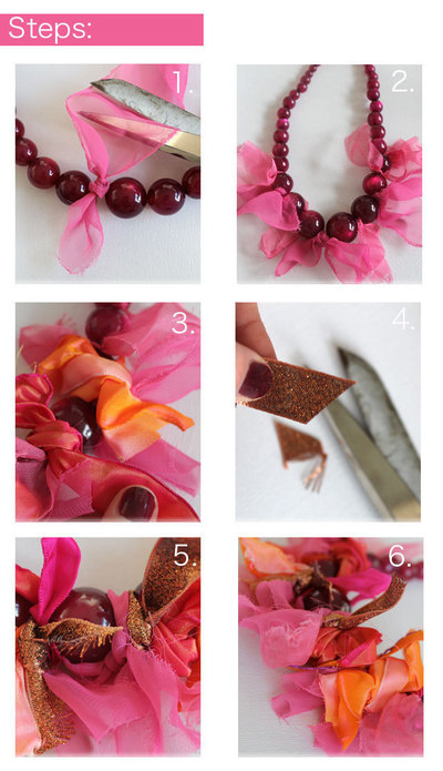 How to make a ribbon necklace. Ribbon Tie Necklace - Step 1