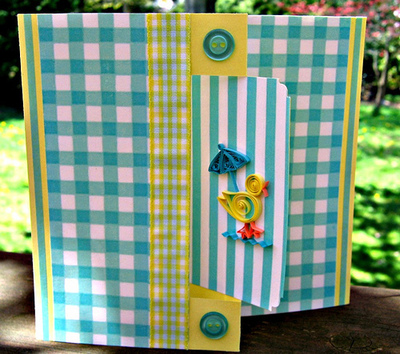 How to make a quilled greetings card. Quilled Duckling Card - Step 5