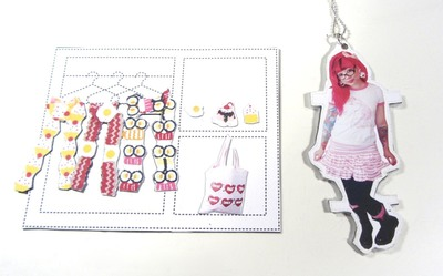 How to make a paper necklace. Twinkie Chan Paper Doll Necklace - Step 20