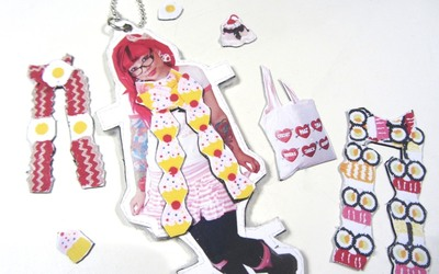 How to make a paper necklace. Twinkie Chan Paper Doll Necklace - Step 21