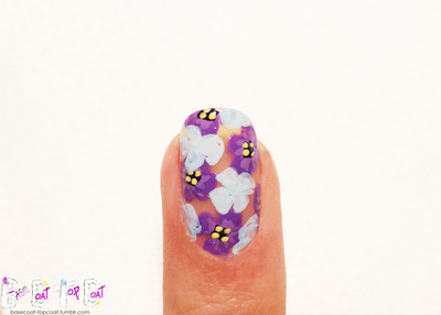 How to paint patterned nail art. Layered Purple Flowers - Step 9