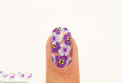 How to paint patterned nail art. Layered Purple Flowers - Step 11