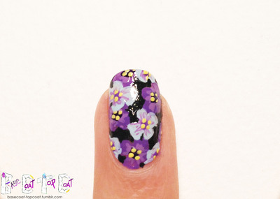 How to paint patterned nail art. Layered Purple Flowers - Step 13