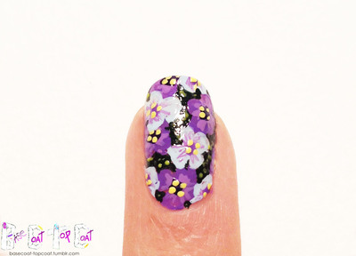 How to paint patterned nail art. Layered Purple Flowers - Step 14