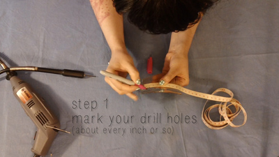How to make a hair comb. Studded Hair Comb - Step 2