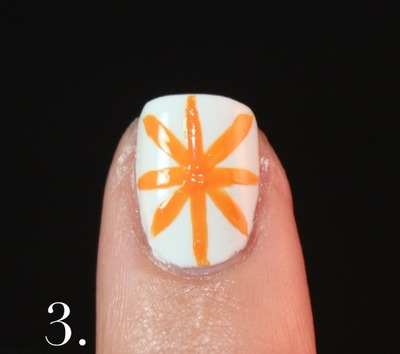 How to paint patterned nail art. Spanish Majolica Inspired Flower Nail Art - Step 3