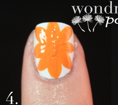 How to paint patterned nail art. Spanish Majolica Inspired Flower Nail Art - Step 4