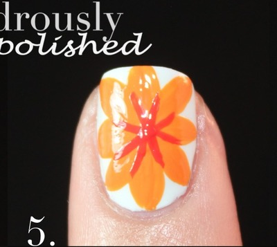 How to paint patterned nail art. Spanish Majolica Inspired Flower Nail Art - Step 5