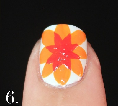 How to paint patterned nail art. Spanish Majolica Inspired Flower Nail Art - Step 6
