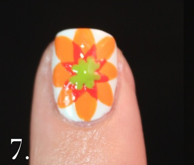 How to paint patterned nail art. Spanish Majolica Inspired Flower Nail Art - Step 7