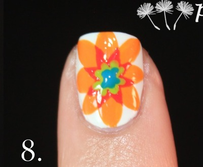 How to paint patterned nail art. Spanish Majolica Inspired Flower Nail Art - Step 8