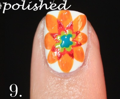 How to paint patterned nail art. Spanish Majolica Inspired Flower Nail Art - Step 9