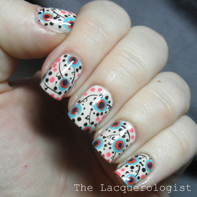How to paint patterned nail art. Bohemian Floral Print Nail Art - Step 9