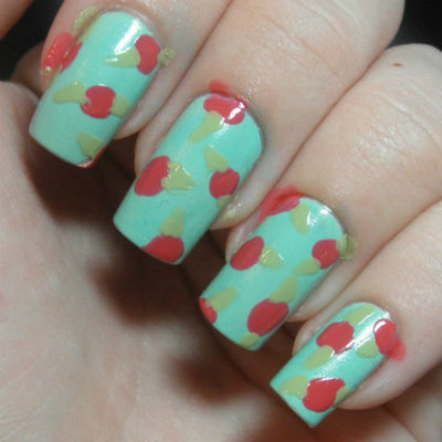 How to paint patterned nail art. Retro Roses Nail Art - Step 2