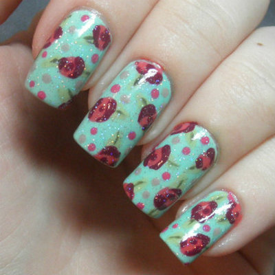How to paint patterned nail art. Retro Roses Nail Art - Step 6