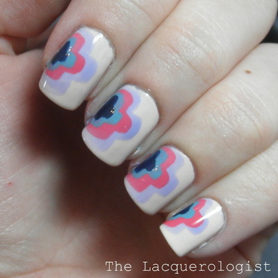 How to paint patterned nail art. Simple Curvy Cloud Nail Art - Step 4