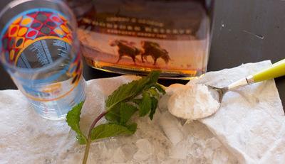 How to mix a bourbon cocktail. Mint Julep - Step 1