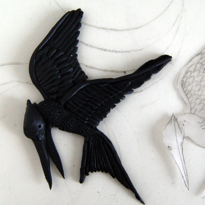 How to sculpt a clay character necklace. The Hunger Games   Mocking Jay - Step 12