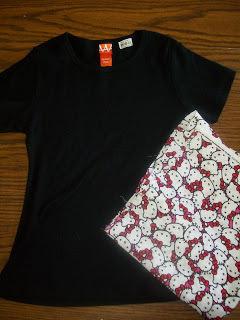 How to sew a t-shirt dress. Tutorial: 99 Cent Store T Shirt + 1/2 Yard Of Fabric = Dress  - Step 1
