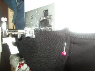 How to sew a t-shirt dress. Tutorial: 99 Cent Store T Shirt + 1/2 Yard Of Fabric = Dress  - Step 10