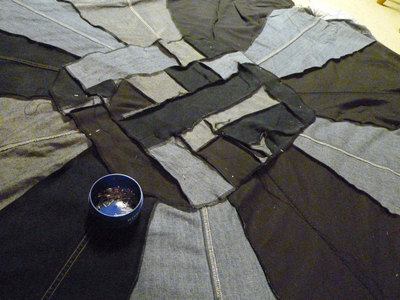 How to make a patchwork quilt. Denim Blanket From Upcycled Jeans - Step 11