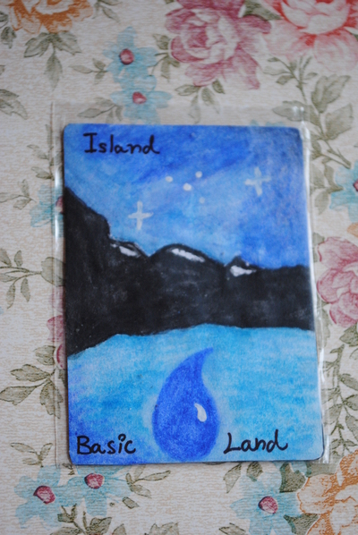 How to make a drawing. Mt G Basic Land Card Making - Step 4