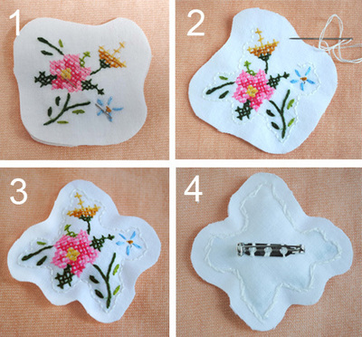 How to stitch a stitched brooch. Upcycled Embroidery Brooch - Step 2