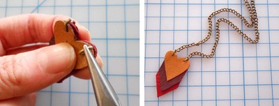 How to make a paper necklace. Chevron Heart Necklace - Step 13
