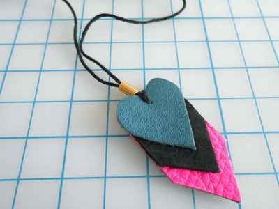 How to make a paper necklace. Chevron Heart Necklace - Step 14