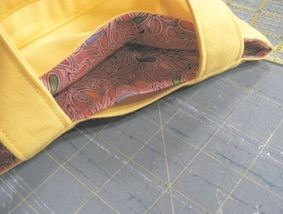 How to stitch an embroidered tote. Mini Tote Bag - Step 8