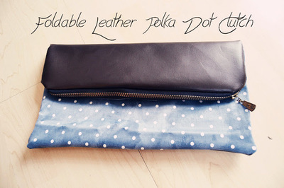 How to make a leather clutch. Foldable Leather Polka Dot Clutch - Step 8