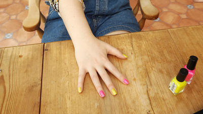 How to paint an embellished nail manicure. Candy Coated Nails - Step 2