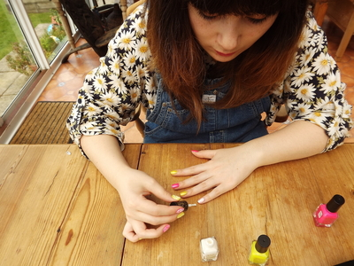 How to paint an embellished nail manicure. Candy Coated Nails - Step 4