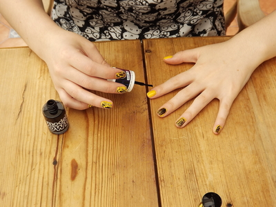 How to paint lightning bolt nail art. High Voltage Nails - Step 4