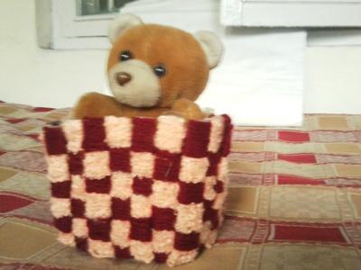 How to stitch a knit or crochet basket. Crochet Basket - Step 12