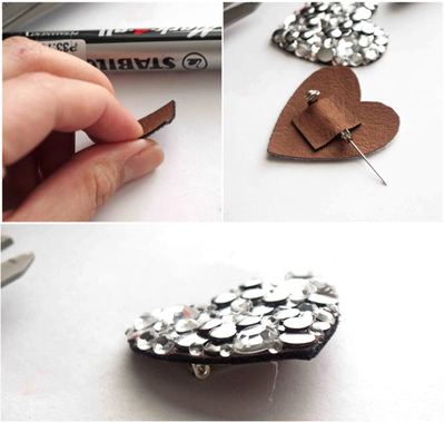 How to embellish a bejewelled brooch. Hand Crafted Jewelry Diy Brooch Out Of Leather And Round Studs - Step 5