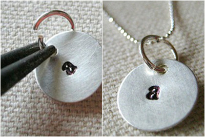 How to stamp a stamped metal pendant. Initial Necklace For Mom  Personalized Mommy Necklace  - Step 2