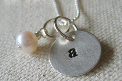How to stamp a stamped metal pendant. Initial Necklace For Mom  Personalized Mommy Necklace  - Step 4