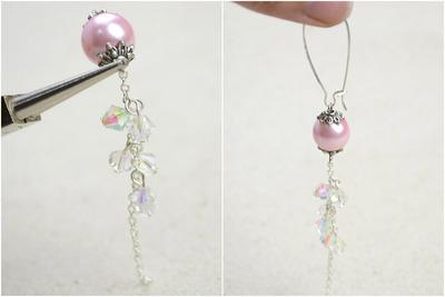 How to make a pair of pearl earrings. Diy Vintage Jewelry  Handmade Earrings With Pearl Lantern And Crystal Tassel  - Step 4