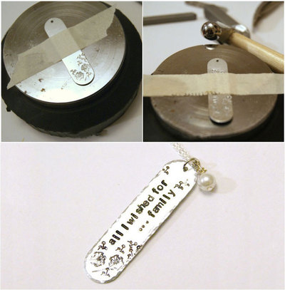 How to stamp a stamped metal pendant. Significant Mothers Day Jewelry   Stamp An Initial Pendant Necklace  - Step 1