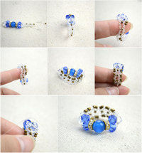 Small diy bow rings for mothers day out of seed beads and glass beads step2