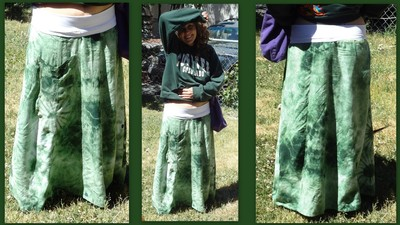 How to recycle a dress into a skirt. Old Dress To Maxi Skirt With Yoga Style Waist Band - Step 4